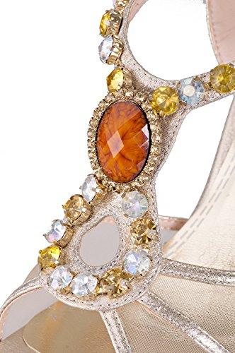 Talons Lightgold Voguezone009 Femmes Doux Peep Hauts Matériel Des Sandales Solides Orteils Des fq0FfTw