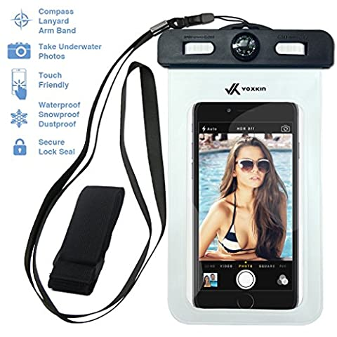 ⚡ Voxkin PREMIUM QUALITY Universal Waterproof Case including ARMBAND ✚ COMPASS ✚ LANYARD - Best Water Proof, Dustproof, Snowproof Bag for iPhone 6S, 6, 6 Plus, 5, Galaxy S6 S5 Note 4 or Any (Ipod Touch 4th Gen Battery Case)