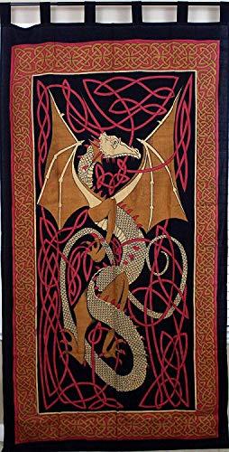Celtic Dragon Tab Top Curtain-Drape-Door Panel-Red ()