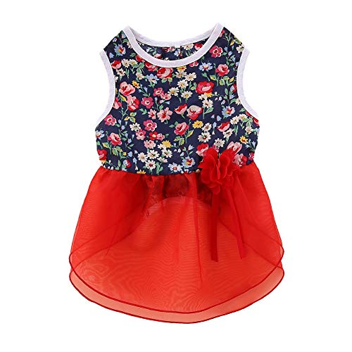 PanDaDa Elegant Floral Puppy Dog Dress, Dog Dresses for Small Dogs Sundress Vest Shirt for Small Dogs Cats D2 L