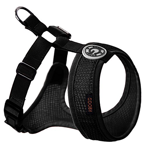 Gooby Choke Free Freedom Mesh Harness Specially Made for Small Dogs, X-Small, Black - Free Harness