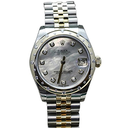 Rolex Datejust 31 White mother-of-pearl set Diamond Dial 18k Yellow Gold And Diamonds Ladies Watch 178343