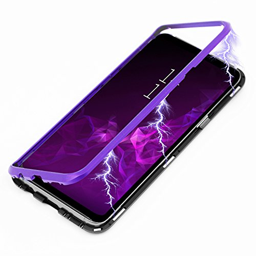 Galaxy S9 Case, Diaxbest Ultra Slim Magnetic Adsorption Metal Case, Aluminum Alloy Frame Hard Clear Tempered Glass Back Cover Support Wireless Charging for Samsung Galaxy S9 (Clear Purple & Black)