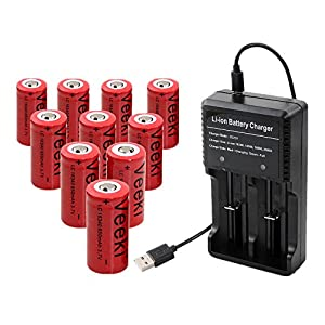 Rechargeable 16340 CR123A Battery, Veeki 16340 RCR123A 3.7V 650mAh Protected Li-ion 16340 Batteries 10Packs for High Drain Device (10PC Battery+Charger)