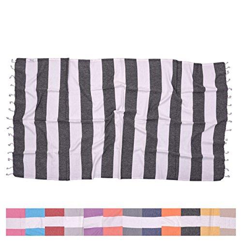 Biarritz Black Striped Turkish Towel for Bath & Beach - Swimming Pool - Yoga Pilates - Picnic Blanket - Scarf Wrap - Peshtemal Hammam Fouta by The Riviera Towel - Gift Macys Certificate