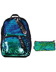 Magic Sequins! Reversible Shimmering Mermaid to Black Fashion Backpack & Matching Pencil Pouch
