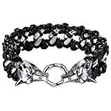 Men's Stainless Steel and Black Leather Tribal Wolf Large and Heavy Biker Bracelet, 9.3'', ccb008