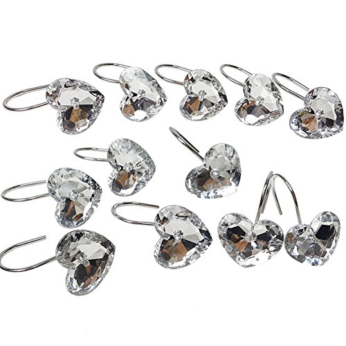 Chictie 12 Piece Set Clear Crystal Shower Curtain Hooks Rings for Bathroom Decorative Bling Polished Chrome Rhinestone Hanger-Rust Proof (Heart) ()