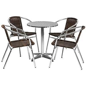 Flash muebles para interiores de aluminio redondo mesa con 4sillas de ratán
