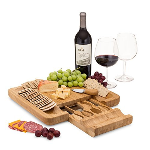 Bamboo Cheese Board Set With Cutlery In Slide-Out Drawer Including 4 Stainless Steel Knife and Serving Utensils ()
