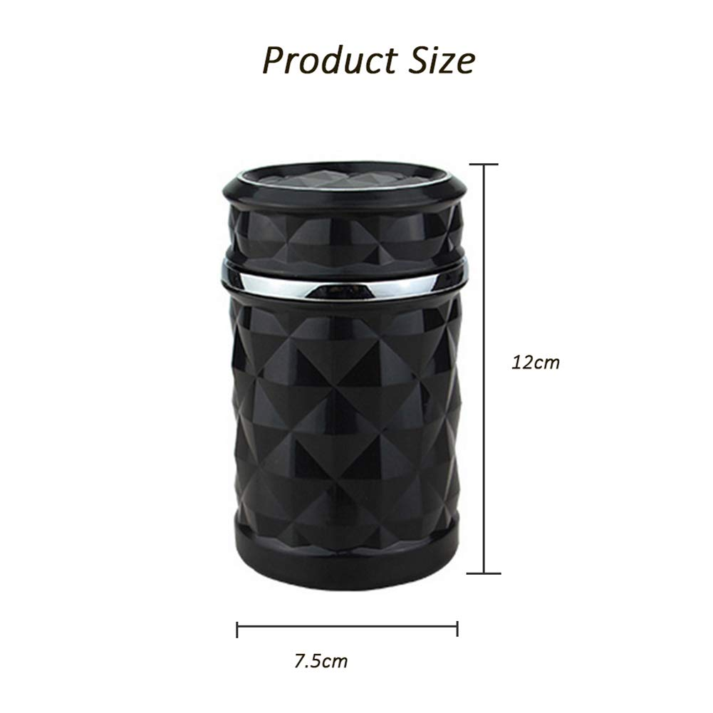 YMXLJJ Diamond Ashtray Portable Fashion Creative Ashtray High Temperature with LED Light Cigarette Smoke Office Home Car Travel Accessories,Black by YMXLJJ (Image #7)