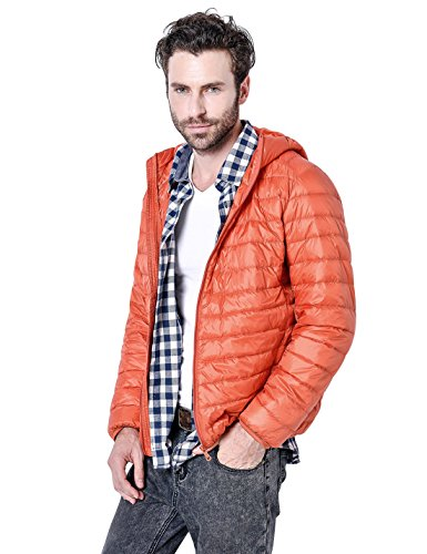 - Gihuo Men's Winter Lightweight Packable Quilted Hooded Down Puffer Jacket (L, Orange)
