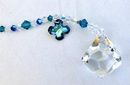 Crystal Sun Catcher, Swarovski Crystals, Greek Cross, Turquoise Blue, Aurora Borealis, Window Mobile, Rear View Mirror, Garden Decor, 9095 -