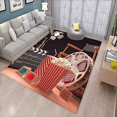 Movie Theater Area Rugs for Bedroom Objects of The Film Industry Hollywood Motion Picture Cinematography Concept Door Mats for Inside Multicolor