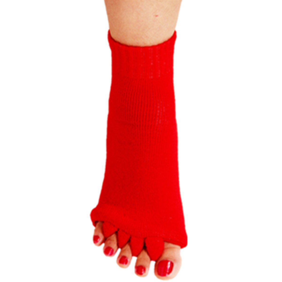 1 Pair Yoga GYM Massage Five Toe Separator Socks Foot Alignment Pain Relief Hot (One Size, A-Red)