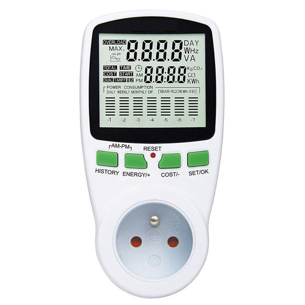 Prise Compteurs d/énergie,Digital Wattmet Power Meter Consommation d/énergie M/ètre Avec Affichage LED pour Test Consommation /électrique,la Tension,le Courant