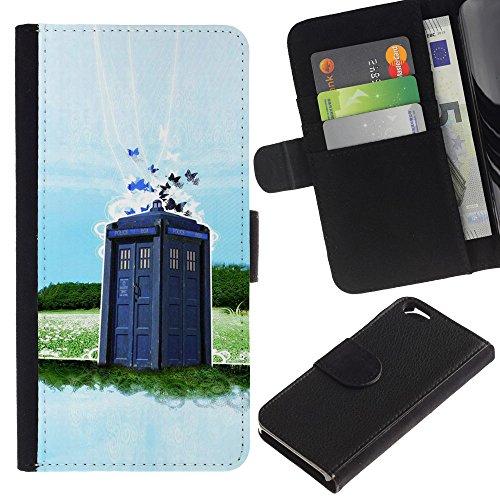 Funny Phone Case // Cuir Portefeuille Housse de protection Étui Leather Wallet Protective Case pour Apple Iphone 6 / Police Booth Peinture /