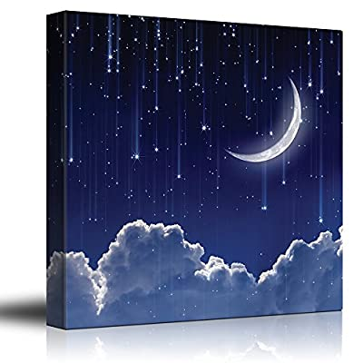 Made For You, Magnificent Artistry, Crescent Moon with Bright Falling Stars Above The Clouds