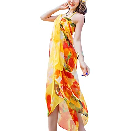 8621b4520dfc2 Image Unavailable. Image not available for. Colour: 140x190cm Robe de Plage Scarf  Women Beach Sarongs Beach Cover Up Summer Chiffon Scarves Geometrical ...