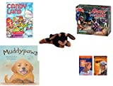 Children's Gift Bundle - Ages 3-5 [5 Piece] - Candy Land Game - Melissa & Doug Close Call Floor 48 Piece Puzzle Toy - Ty Beanie Baby - Doby the Doberman - Muddypaws Hardcover Book - Women's History