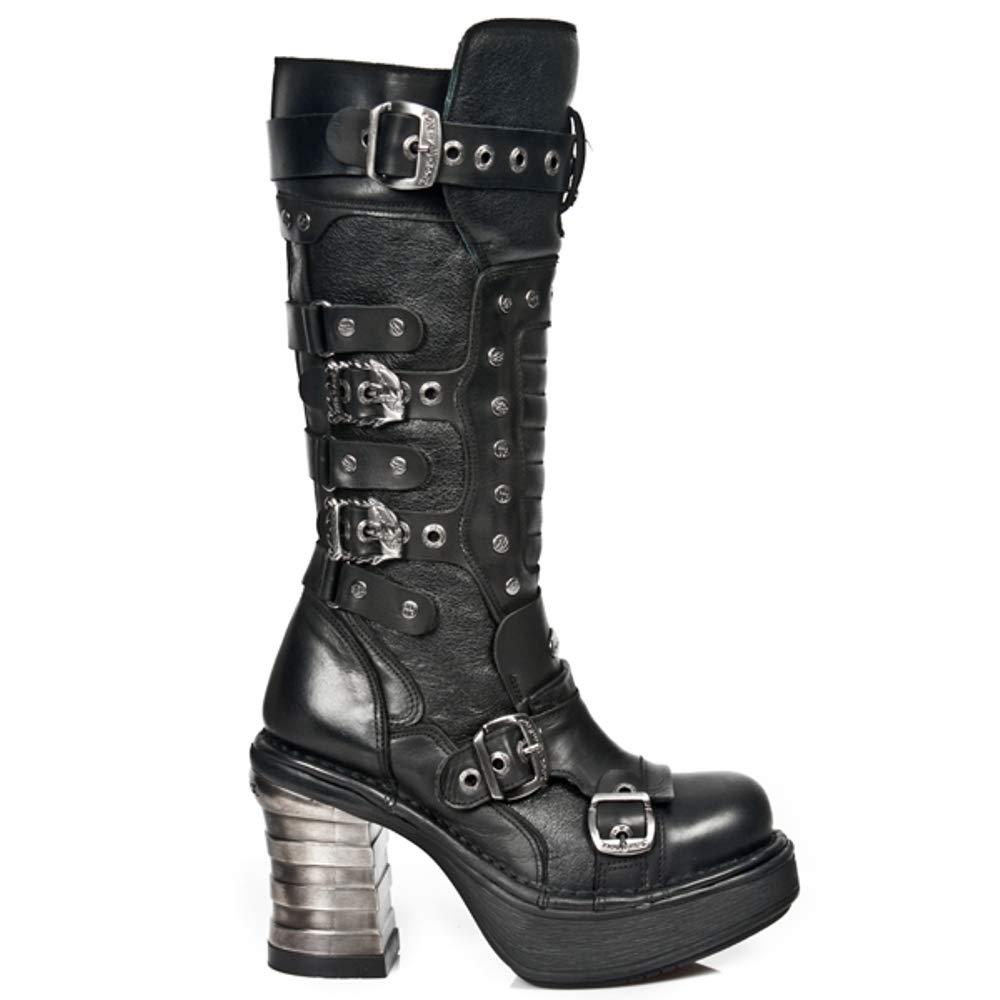 - New Rock M.8353 S1 Schwarz - Stiefel, Metallisch Silberform, Damen