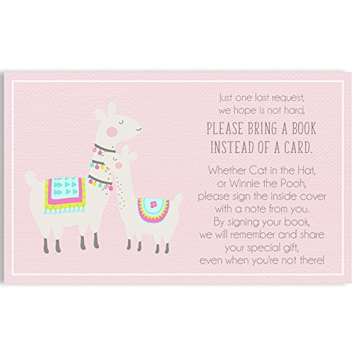 Bring A Book Cards, Baby Shower Invitation Book Inserts, Llama Mama Baby Shower, Mama Llama, Baby Llama, Pink, Grey, Gray, 24 Printed Cards