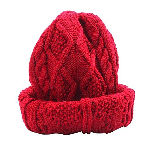 - Elevin(TM)Women Men Fashion Knit Baggy Beanie Beret Winter Warm Oversized Ski Cap Hat (Red)