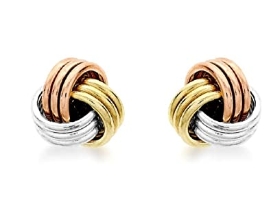 6f552a762 Carissima Gold 9 ct 3 Colour Gold 5 mm Knot Stud Earrings: Amazon.co.uk:  Jewellery