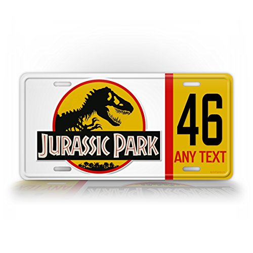 SignsAndTagsOnline Custom Jurassic Park License Plate Jeep Personalized Year and Text Wrangler Sahara World Auto Tag (Jurassic Park Car)