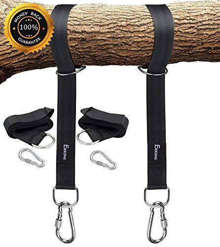 Tree Swing Straps Hanging Kit Holds 1200lbs, Easy & Fast To Installation Swing Hanger, 2 Tree Straps(5 FT )and 2 Safety Lock Carabiner Hooks, Perfect For Swings and Hammocks-100% Waterproof (Black) by EKKONG