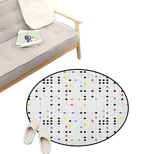 - Colorful Kids Round Rug ,Metro Scheme with Vivid Colored Intricate Lines and Dots Urban Life Transportation, Sofa Living Room Bedroom Modern Home Decor 31