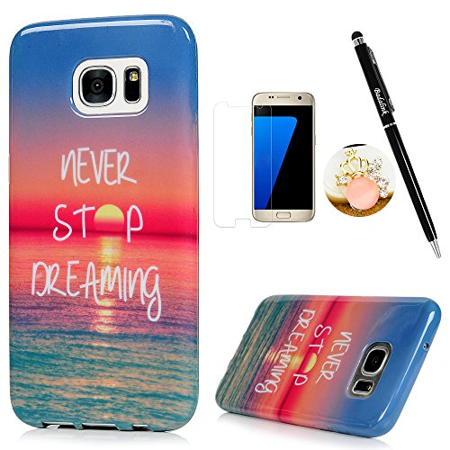 S7 Edge Case,Samsung Galaxy S7 Edge Case - Badalink Soft TPU Rubber Skin Gel Bumper Ultra-thin Slim Fit Print Cover with High Definition Screen Protector & Dust Plug & Stylus Pen - Never Stop Dreaming