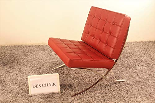 (Premium Genuine Leather Replica Barcelona Chair with Stainless Steel Frame (Red))