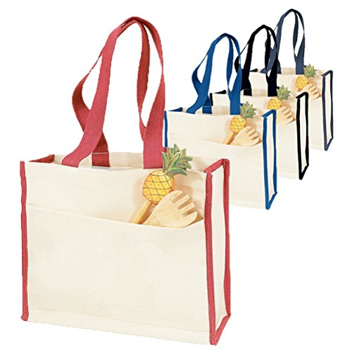 - Reusable Heavy Canvas Tote Bags Colored Trim - Set of 6 (Black)
