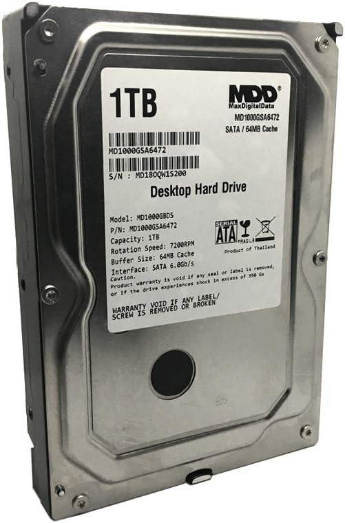 MaxDigitalData (MD1000GSA6472) 1TB 64MB Cache 7200RPM SATA 6.0Gb/s 3.5in Internal Desktop Hard Drive - 2 Years Warranty