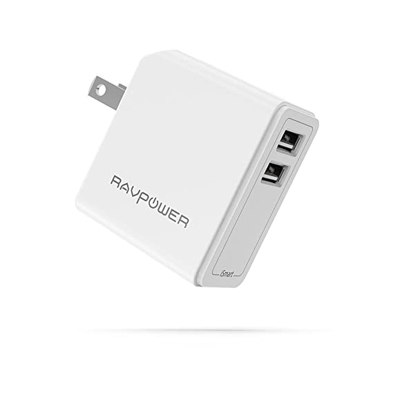 USB Wall Charger RAVPower 24W 4.8A USB Plug, Phone Power Adapter with iSmart Tech, Compatible iPhone Xs XS Max XR X 8 7 Plus, iPad Pro Air Mini, ...