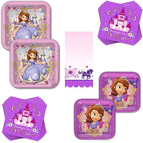 Sofia The First Dinnerware Bundle - Serves 16 Guests - Birthday Party Kit Includes Paper Plates, Napkins & Table Cover (Sofia The First Character For Birthday Party)