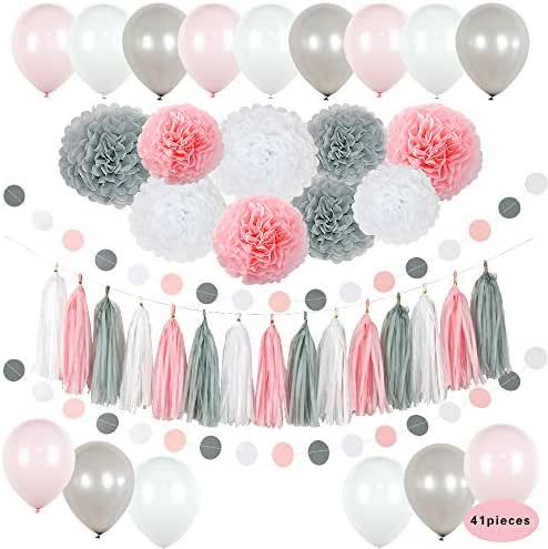 Baby Shower Birthday Party Girl Decorations Set Bridal Decor Kit Premium Eco-Friendly Reusable Paper Tissue Flower Pom Pom Honeycomb Ball Garland Tassel Balloons Its a Girl DIY 41 Pieces (Light Pink)