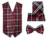 4pc Plaid Tuxedo Vest Set-Burgundy-S