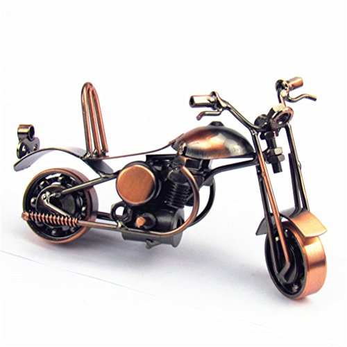 VORCOOL Vintage Iron Motorcycle Model Metal Retro Handicraft Collectible Iron Art Sculpture for Motorcycle Lover Home Desk Workplace Office Decoration (Bronze)