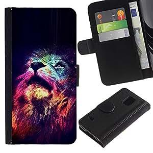 Estrellas King Africa Noche Rosa Universo- la tarjeta de Crédito Slots PU Funda de cuero Monedero caso cubierta de piel Para Samsung Galaxy S5 V SM-G900