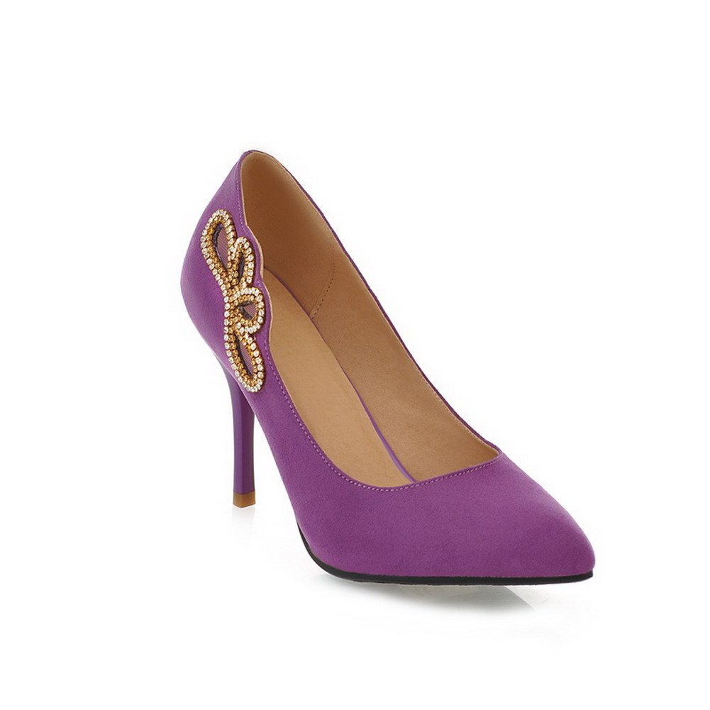 VogueZone009 Womens Closed Pointed Toe High Heel Stiletto Suede Frosted PU Solid Pumps Glass Diamond, Purple, 7.5 B(M) US
