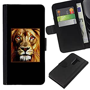 All Phone Most Case / Oferta Especial Cáscara Funda de cuero Monedero Cubierta de proteccion Caso / Wallet Case for LG G2 D800 // Lion Poster Fire Red Minimalist Black