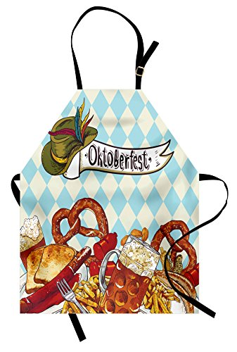 Lunarable Oktoberfest Apron, Bread Pretzel Carnival Partying Germany Costume Cheerful Festival Illustration, Unisex Kitchen Bib Apron with Adjustable Neck for Cooking Baking Gardening, Multicolor