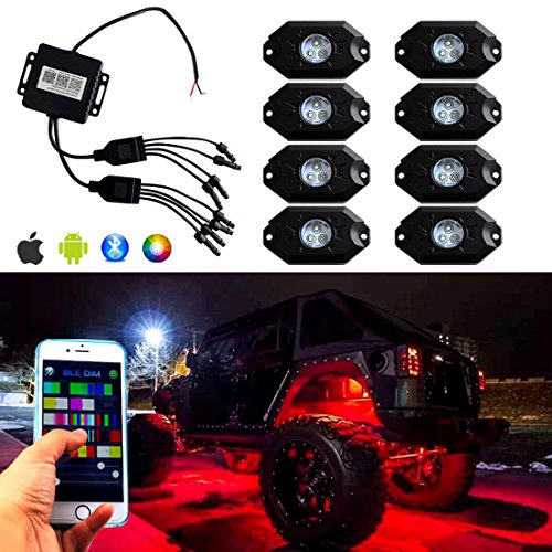 Hardtop Boat Cover (ICARS 3rd-Gen RGB LED Rock Lights Bluetooth Multicolor Neon LED Light Kit with 8 Pods Lights for for Jeep Off Road Truck Car ATV SUV Vehicle Boat Underbody Glow Trail Rig Neon Lights Waterproof - 8PCS)