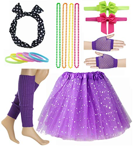 Girl 80s Star Sequin Tutu Skirt with Neon Necklace Bow Headband Hair Clip Set (Purple) ()