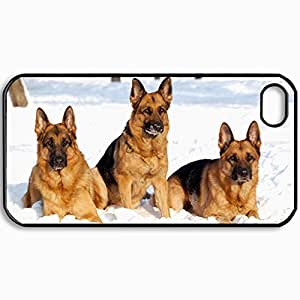 Personalized Protective Hardshell Back Hardcover For iPhone 4/4S, German Shepherd Design In Black Case Color