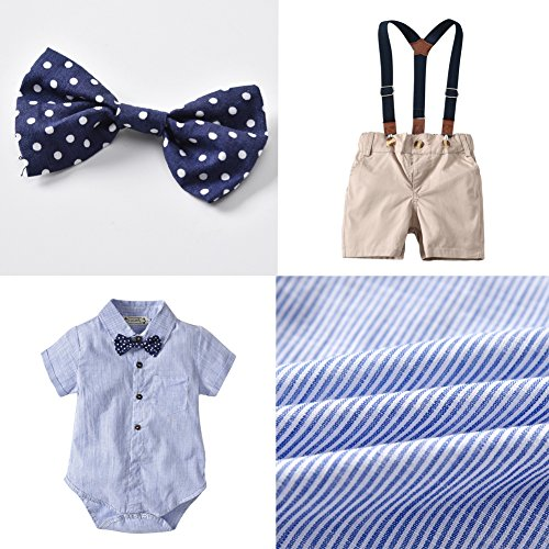 ALLAIBB Baby Boy Gentleman Outfits Two Pieces Blue Striped Shirt Overalls with Bowtie Size 70 (Blue) by ALLAIBB (Image #4)