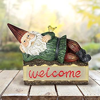"""Exhart Solar Gnome Welcome Sign Garden Statue – Light Up Gnome Statue on Welcome Sign Log w/Resin Décor, Whimsical, Durable & Solar Powered- Perfect for Porch & Garden 16.14"""" L x 6.5"""" W x 14.17"""" H"""