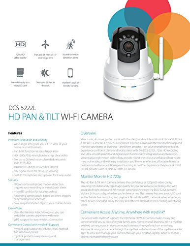 D-Link DCS-5222L High-Definition Pan and Tilt Wi-Fi Video Security Camera White